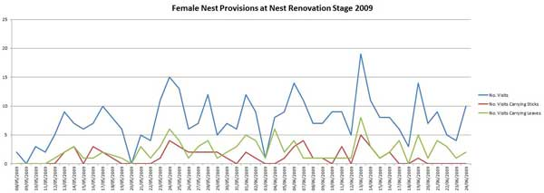Graph of Female nest Provision 2009